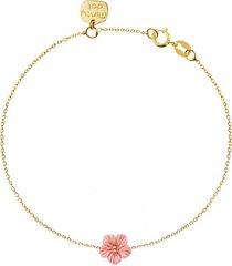 bransoletka złota kwiatek koral