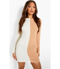 geribbelde gebreide colour block jurk, camel