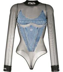 heron preston body jeans com recortes translúcidos - preto