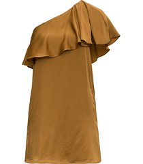 one shoulder dress with satin crepe frill