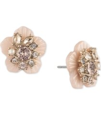 marchesa gold-tone crystal & imitation pearl flower button earrings