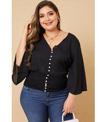 blusa de manga larga con cuello en v fruncido y talla grande