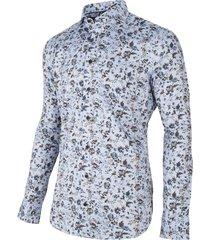 cavallaro cavallaro overhemd shirt bloemprint licht damiano 1095037-61046 blauw