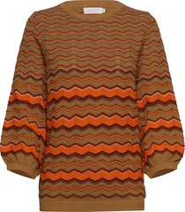 knit in multi color w. volume sleev gebreide trui bruin coster copenhagen