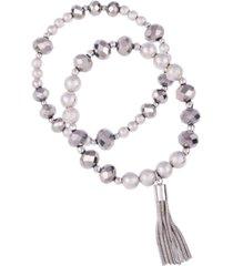 t tahari mixed gems bracelets, set of 2