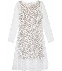 sukienka biała w groszki