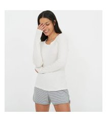 blusa de pijama manga longa lisa em ribana | lov | branco | g