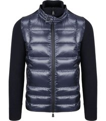 moncler grenoble ribbed quilted nylon cardigan