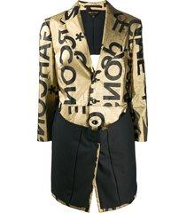comme des garçons logo print single-breasted coat - gold