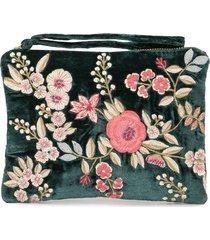 anke drechsel embroidered floral clutch bag - green