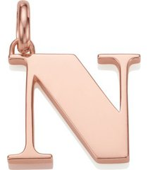 alphabet pendant n, rose gold vermeil on silver