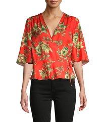 ava & aiden women's floral-print self-tie wrap top - tangerine - size s