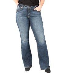 plus size women's silver jeans co, elyse high waist slim bootcut jeans, size 20w - blue