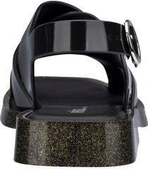 sandalia negro glitter dorado melissa melrose
