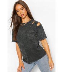 acid wash rip detail t- shirt, grey