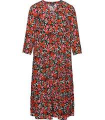 midi dress floral print plus v neck viscose knälång klänning multi/mönstrad zizzi