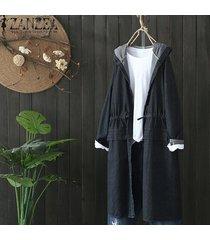 zanzea las mujeres más del invierno con capucha con cordón capas largas sudaderas con capucha abrigo rompevientos -negro