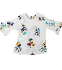 blusa chifon flores bolero
