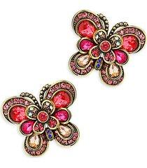 multi-color rhinestone butterfly stud earrings