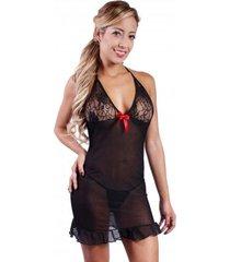 babydoll woman sexy 3041 lenceria ropa interior mujer - negro