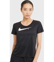 polera nike w nk swoosh run top ss negro - calce regular