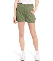 lee high waist dungaree shorts, size 28 in olive at nordstrom