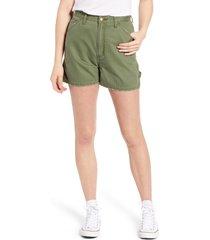 women's lee high waist dungaree shorts, size 33 - green