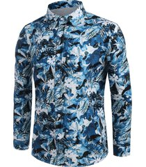 allover floral leaf print button up casual shirt