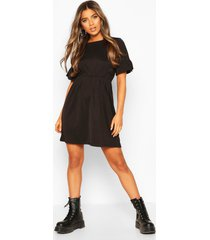 petite frill sleeve smock dress, black
