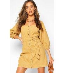 balloon sleeve square neck cord dress, tan