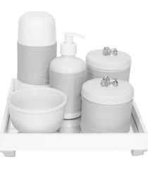 kit higiene espelho completo porcelanas, garrafa pequena e capa flor de liz prata quarto bebê unissex