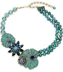 goldtone & crystal waterlily necklace