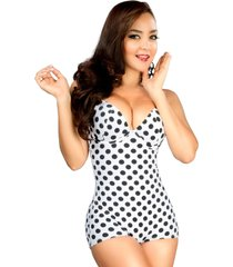 vintage pinup style polka dot bettie slimming swimsuit