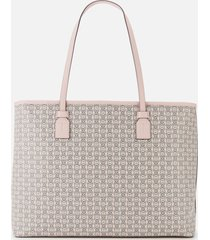 tory burch women's gemini link canvas top zip tote bag - coastal pink gemini link
