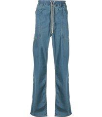 rick owens drkshdw drawstring baggy jeans - blue