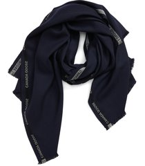 men's canada goose merino wool selvedge scarf, size one size - blue