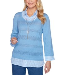 alfred dunner pearls of wisdom layered-look necklace sweater