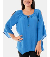 ny collection split-sleeve peasant top