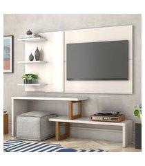 painel e rack para tv atreus off white amêndoa casah
