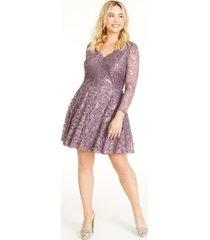city studios trendy plus size long-sleeve sequin & lace dress