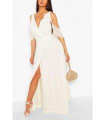 boutique chiffon maxi-jurk in wikkelstijl met franjes, ivoor
