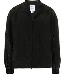 y-3 relaxed fit logo print windbreaker jacket - black