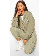 utility tie crop jean jacket, khaki