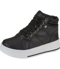 tãªnis botinha sneaker joys shoes cadarã§o preta - preto - menina - dafiti