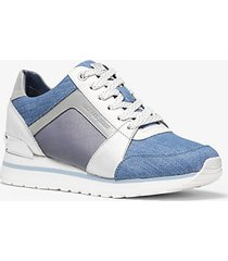 mk sneaker billie in denim e materiale misto - denim (blu) - michael kors