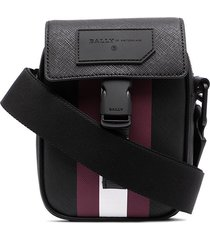bally striped leather messenger bag - black