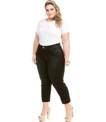 calça confidencial extra plus size jeans capri cetim feminina