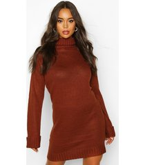 roll neck wide sleeve sweater dress, brown