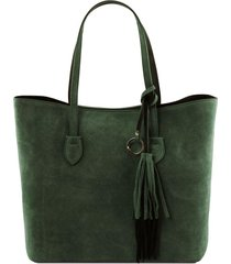 tuscany leather tl141639 tl bag - borsa shopping in pelle scamosciata verde foresta