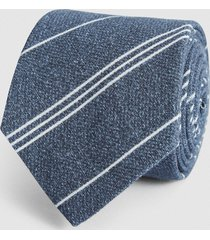 reiss lyon - cotton linen blend tie in navy/white, mens